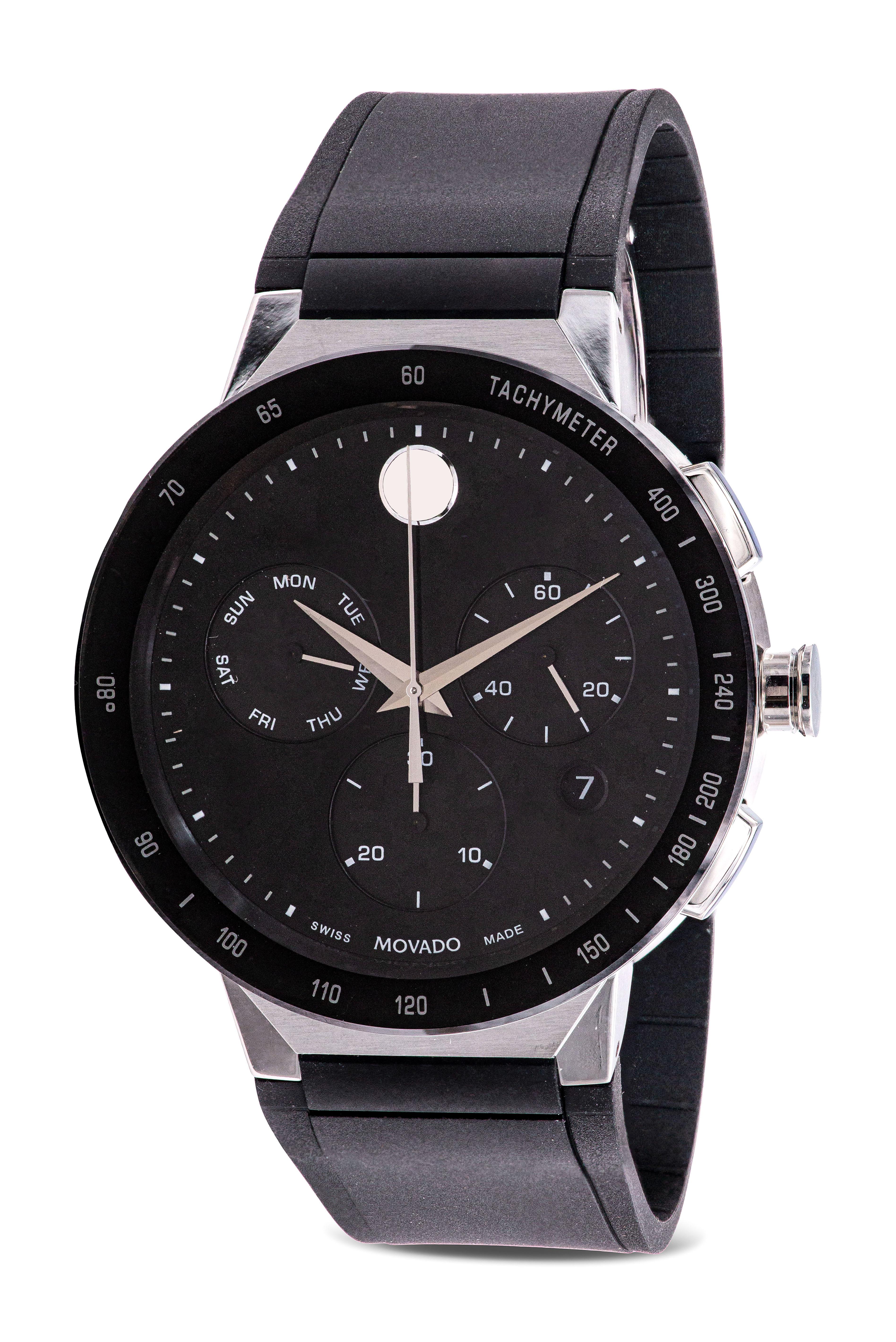 Movado Sapphire Chronograph Rubber Mens Watch 0607240