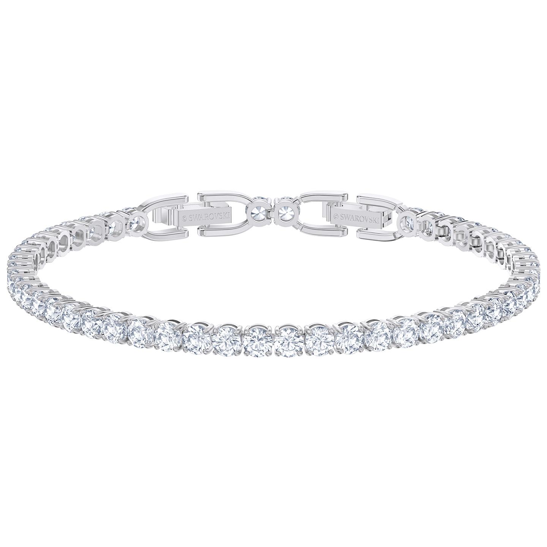 Details about Swarovski Tennis Deluxe Bracelet - White - Rhodium Plated