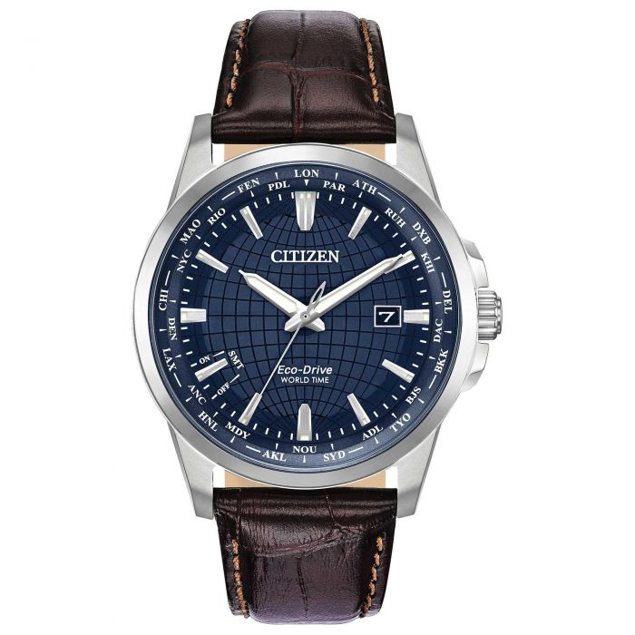 Citizen Eco-Drive World Time Leather Mens Watch