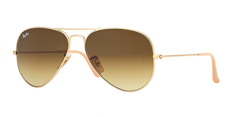 ray ban aviator matte gold brown gradient